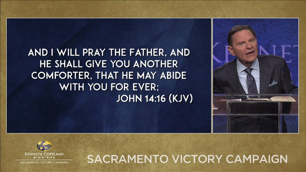 "At the 2019 Sacramento Victory Campaign, Kenneth Copeland continues teaching about being God-inside minded. ""Oh God be with me,"" is an unscriptural prayer. We are IN Him! He's IN us! He said He'd never leave us! You are the very temple of God! We have access to everything God is, has and knows."