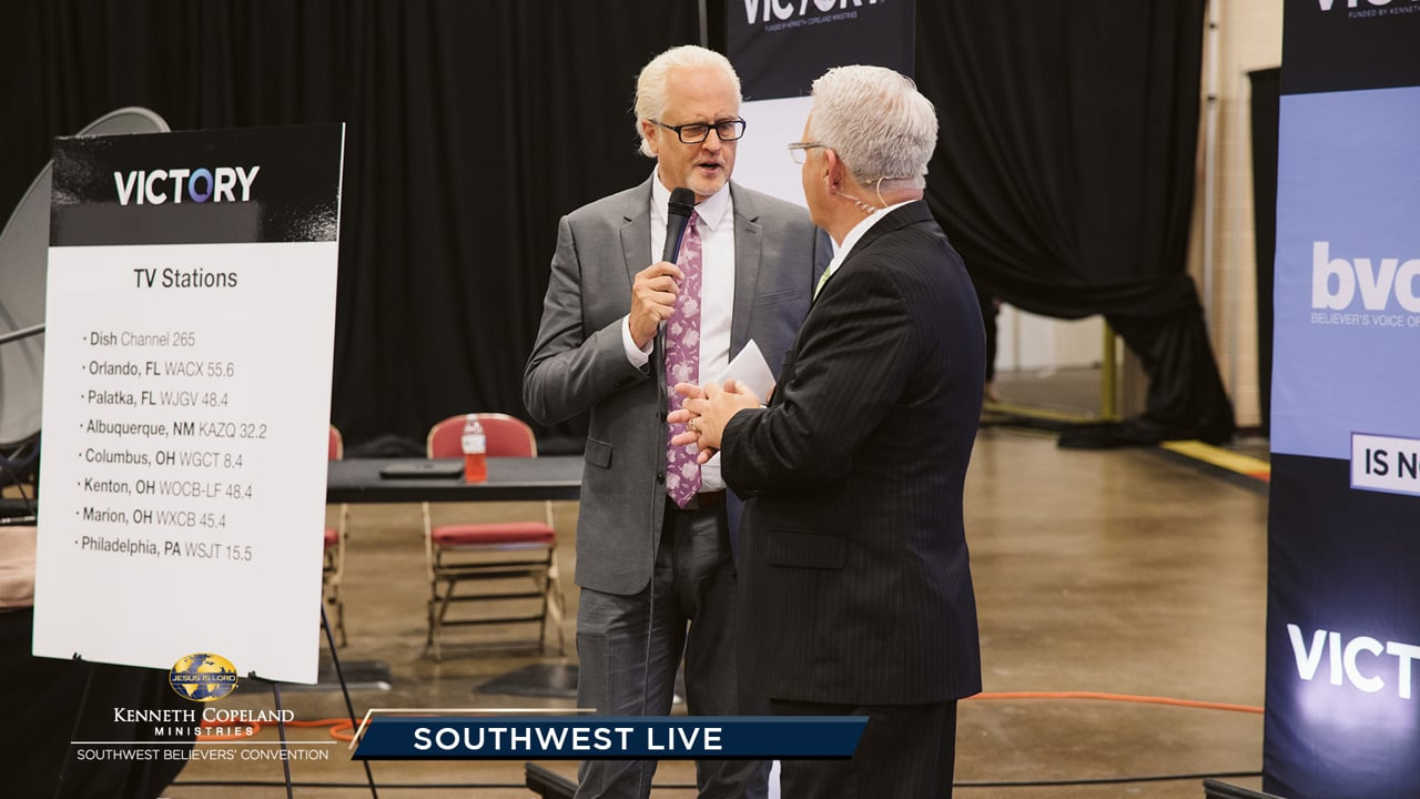 Chris Estrada joins Tim Fox, at the 2019 Southwest Believers' Convention, as he shares his victory over drugs, the vision of 1Nation1Day and Missions.Me. Pastor Greg Stephens and Dr. Gene Bailey give details about the new VICTORY™ network! Jeremy Pearsons talks about their new Legacy Church in Colorado.