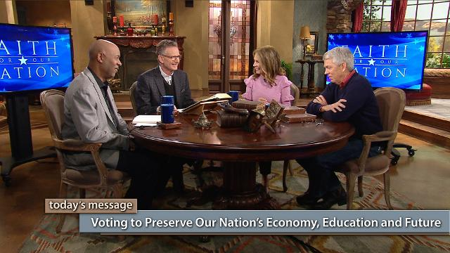 "Did you know the Bible is an economics book and it was a textbook in our schools for 320 years? In this episode of Faith for Our Nation—Vote Special, George Pearsons, Michele Bachmann, David Barton and Keith Butler discuss how we can vote to preserve our nation's economy, education and future. Watch this episode of Believer's Voice of Victory!To watch the additional content, click here or go to: kcm.org/votingspecialTo download Pastor George Pearsons' notes ""Where Do You Stand – The Political Platforms"", click here or go to: emic.org/platforms"