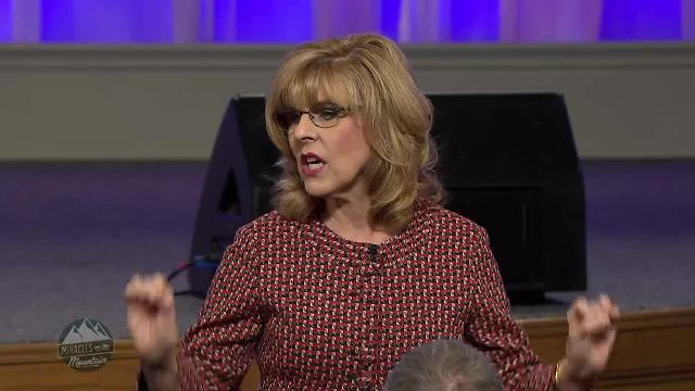 Pastor Terri Copeland Pearsons shares a message on faith foundations during the Sunday morning message at the 2018 Miracles on the Mountain meeting.