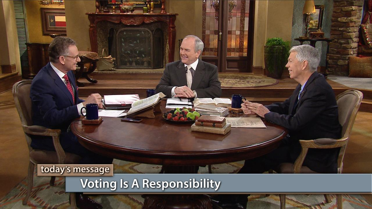 "Is voting a responsibility of the Christian? Watch George Pearsons, David Barton and Buddy Pilgrim on this special ""Faith for Our Nation"" edition of Believer's Voice of Victory as they clearly define the responsibility of the believer and of the Church when it comes to voting. Learn how to fulfill your duty as a steward of our nation's values and morals in the voting process!"