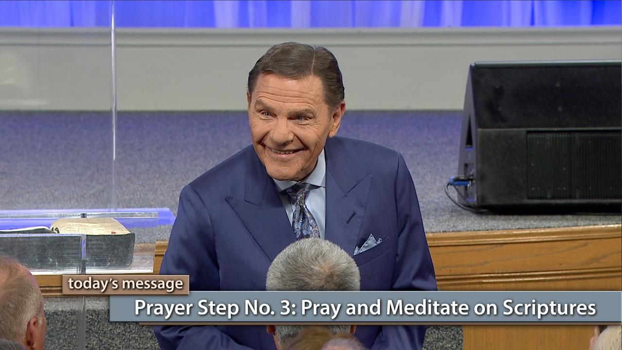 Don't let Satan talk you out of what God's promised you! Watch Kenneth Copeland on Believer's Voice of Victory share prayer step No. 3, for prayer that brings results. When you pray and meditate on Scriptures, you will begin to stand on the rock of God's WORD and see yourself with the answer. That's how you stop the enemy in his tracks!