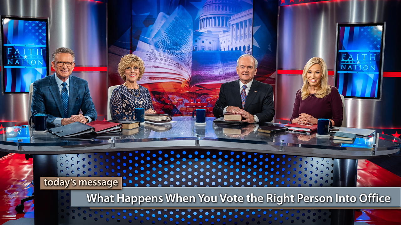 "On this special ""Faith for Our Nation"" broadcast of Believer's Voice of Victory, George and Terri Pearsons, Buddy Pilgrim, and Paula White-Cain share behind-the-scenes information about the faith of Donald Trump, and what happens when you vote the right person into office. Who is the right person? The one who will uphold righteous laws! Your vote for the right people in the 2018 midterm election is critical!"